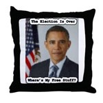 Barack Obama Free Stuff Throw Pillow