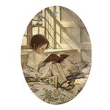 Child Reading Oval Ornament