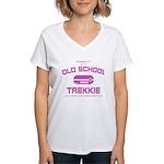 Pink - Old School Trekkie Women's V-Neck T-Shirt