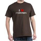 I LOVE STRAWBERRIES Black T-Shirt