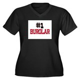 Number 1 BURGLAR Women's Plus Size V-Neck Dark T-S