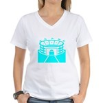 Cyan Stadium Women's V-Neck T-Shirt