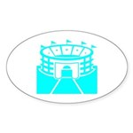 Cyan Stadium Oval Sticker (10 pk)