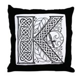 Celtic Letter K Throw Pillow
