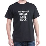NORWEGIAN FOREST CATS ROCK Black T-Shirt