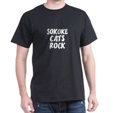 SOKOKE CATS ROCK Black T-Shirt
