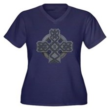 Celtic Cross Women's +Size V-Neck Dark T-Shirt