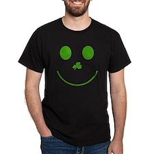 Irish Smiley Face Black T-Shirt
