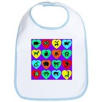 Zoo Hearts Bib