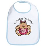 Beary 1st Birthday Girl Bib