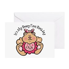 Beary 1st Birthday Girl Greeting Card