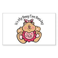 Beary 1st Birthday Girl Rectangle Decal