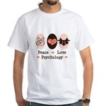 Peace Love Psychology White T-Shirt