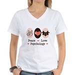Peace Love Psychology Psychologist Women's V-Neck