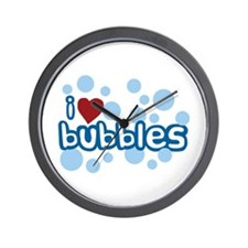 I Love Bubbles Wall Clock