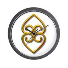 Adinkra Symbol - Earth- gold Wall Clock