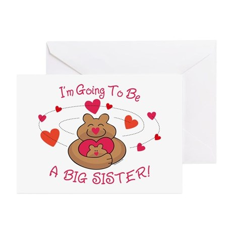Bear Hug Future Big Sister Greeting Cards (Pk of 2