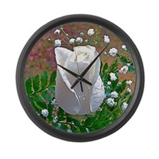 White Rose Large Wall Clock