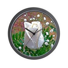 White Rose Wall Clock