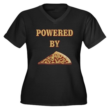 Powered By Pizza Womens Plus Size V-Neck Dark T-S