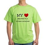 My Heart Belongs To A SYSTEMS DEVELOPER Green T-Sh