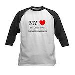My Heart Belongs To A SYSTEMS DEVELOPER Kids Baseb