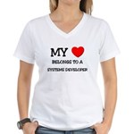My Heart Belongs To A SYSTEMS DEVELOPER Women's V-