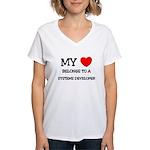 My Heart Belongs To A SYSTEMS DEVELOPER Women's V-