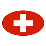 Swiss Flag Oval Sticker (10 pk)