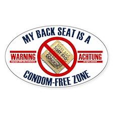 Condom-Free Zone Bumper Oval Decal