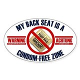 Condom-Free Zone Bumper Oval Stickers