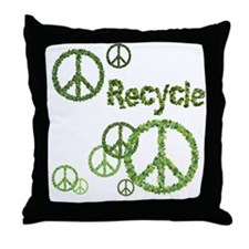 Recycle Peace Sign Throw Pillow