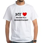 My Heart Belongs To A SEDIMENTOLOGIST White T-Shir