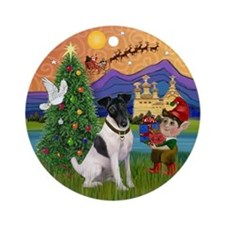 Fox Terrier Christmas Fantasy Ornament (Round)