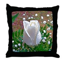 White Rose Throw Pillow