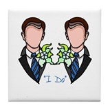 Gay Wedding Grooms Tile Coaster