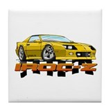 Yellow Camaro IROC-Z Tile Coaster
