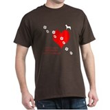 Dogs Leave Pawprints on Your Heart Black T-Shirt