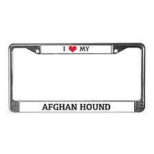 I Love (Heart) My Afghan Hound License Plate Frame