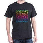 Rainbow Cat Tracks Pawprints on Black T-Shirt