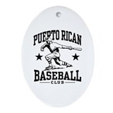 Puerto Rican Baseball Oval Ornament