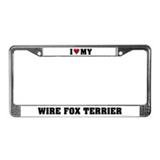 I Love My Wire Fox Terrier License Plate Frame
