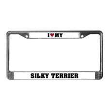 I Love My Silky Terrier License Plate Frame