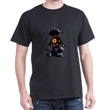 "Black T-Shirt with 10"" robot at night"