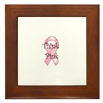 Think Pink Ribbon Framed Tile