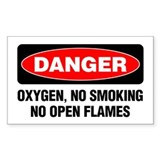 Danger: Oxygen, No Smoking, No Open Flames Decal