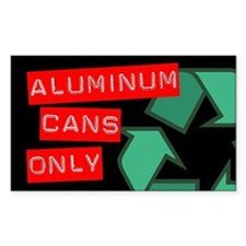 Aluminum Cans Only Recycling Sticker (Black Series