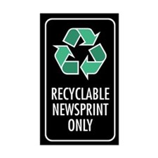 Recyclable Newsprint Only Sticker (Black w/Symbol)