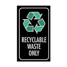 Recyclable Waste Only Sticker (Black w/Symbol)