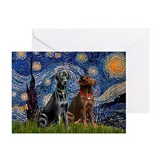 Starry / 2 Labradors (Blk+C) Greeting Cards (Pk of